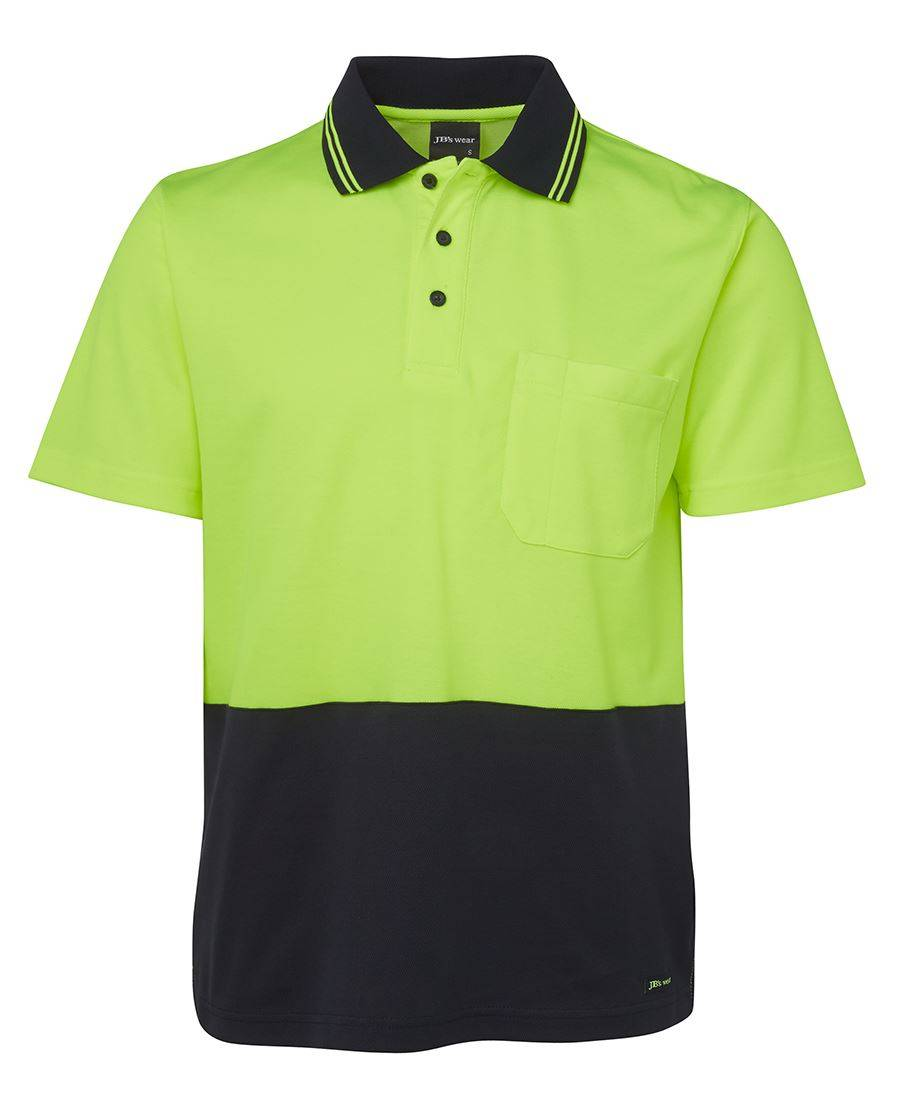 Hi Vis Non Cuff SS Cotton Back Lime Navy 1